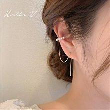 Hello V 正韓製珍珠耳夾設計垂墜金屬耳針 *圖片色* 社團飾品【G0415-66】