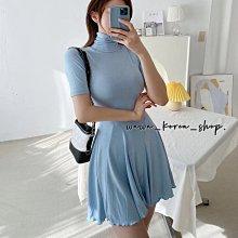 正韓:高領短版裙擺設計款洋裝(3色)