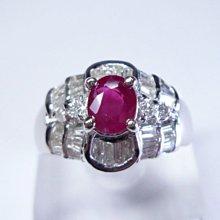 【連漢精品交流中心】《天然紅寶石 1.17CT 》14白K金設計款奢華 紅寶石鑽戒 (女戒)~ 5168