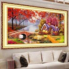 奇奇店-十字繡新款3d客廳風景畫油畫溫馨家園大畫清晰線繡簡單繡