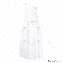 【WEEKEND】 STAUD 低胸 拼接 細肩帶 綁帶 蛋糕裙襬 長洋 白色