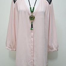 瑞典品牌大尺寸【H&M】粉紅黑蕾絲100%纖維七分袖雪紡 US16號