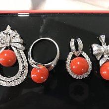 阿卡珊瑚珠鑽石k金設計件