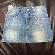 (近新轉讓)puzzle folks 女孩撞色縫線俏麗牛仔裙~個性刷白迷你裙~復古短裙~110cm~可調式暗釦