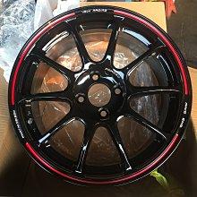富山 4孔100 亮黑色 紅邊 輕量化 16吋鋁圈 ALTIS LANCER TIERRA VIOS FIT YARIS