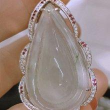 天然A貨玻璃種翡翠鑽石紅寶設計墜大件k金滿鑽豪華墜