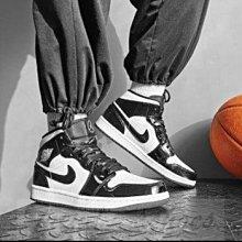 Nike Air Jordan 1 Mid AJ1 復古 高幫 漆皮 黑白 熊貓 籃球鞋 DD1649-001 男鞋