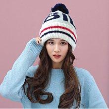 【秋冬必備款☆R222-1☆BIG BILL造型球球毛帽 】白色深藍球  帽子專賣店