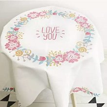 NM 現代簡約北歐風加厚棉麻圓桌桌布 桌巾 餐桌巾 LOVE YOU 110×110