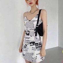 韓國製 個人風格 個性穿搭 英文報紙印花細肩帶連身裙 白/黑nesize 特價