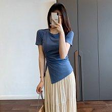 不規則開叉性感t恤~~艾菲兒=現貨、韓版、預購