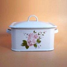 鄉村雜貨小市集*zakka 復古典雅粉色玫瑰花雙耳琺瑯盒蛋糕餅乾盒