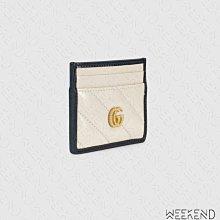 【WEEKEND】 GUCCI GG Marmont 皮革 卡夾 卡片夾 名片夾 白+深藍色 573812