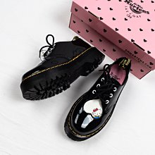 Dr. Martens x Hello Kity 1461 3孔 馬汀靴 黑色 漆皮 心型鞋頭 厚底 皮鞋 女鞋