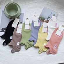 OT SHOP[現貨]襪子 船型襪 短襪 女款 棉質 素色 可愛卡通笑臉刺繡 黑/白/咖啡/粉/紫/黃/綠 M1124