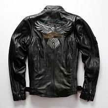 哈雷115周年真皮皮衣男頭層牛皮摩托車皮夾克 騎行夾克機車服外套