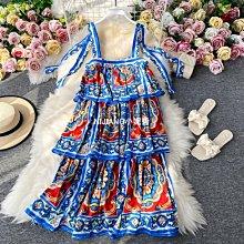 法式女神范2020年春夏新款女裝吊帶青花蛋糕裙印花時尚連衣裙氣質-NIJIANG小妮醬