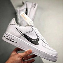 Nike Air Force 1 Low AF1 黑白 二次元 涂鴉 荔枝皮 低幫 滑板鞋 CW7581-101 男女鞋