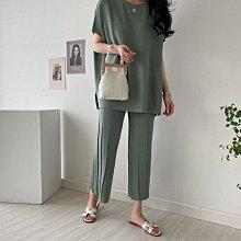Maisobo 韓 春夏 約會套裝 純色蝙蝠衫針織衫 / 冰絲百褶針織褲 3色 KK-69 預購