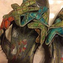1001起標 Macanna 麥坎納 麥肯納 近全新真皮 涼鞋/拖鞋 楔型 厚底涼拖鞋 精品 時尚品味