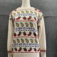【哈極品】未使用品《GUCCI 古馳服飾 白色水果造型圖案 長袖針織上衣》