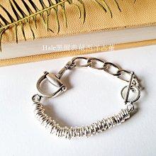 黑爾典藏西洋古董~純925銀馬蹄造型活動小圈圈純銀OT扣手鍊~品牌時尚情人節巧克力