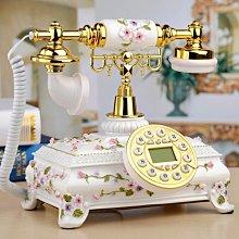 5Cgo【批發】531886356708 田園仿古歐式電話機收銀櫃台時尚玫瑰花朵浮雕客廳復古電話機老式商務座機-免提背光