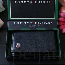 特價859 Tommy Hilfiger 黑色真皮ID證件信用卡三折短夾中夾皮夾可放名片悠遊卡紙鈔禮盒 愛Coach包包