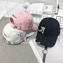 粉紅可愛頑皮豹刺繡帽子女秋冬季棒球帽韓版百搭鴨舌帽彎檐帽男潮