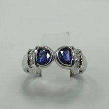 (板信當舖流當品) 60分 錫藍 天然藍寶石 K金 鑽戒 喜歡價可議 PS354
