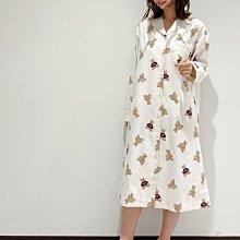 G414滿版泰迪熊棉質 長洋裝 居家服 情侶套裝 休閒服 睡衣 gelato pique