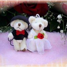 蓓蓓結婚禮品屋~燕尾服對熊吊飾~5公分~泰迪熊~婚禮小物~四肢可動~^0^