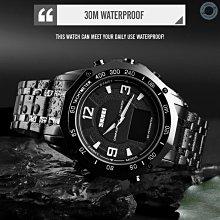 SKMEI 1464 男士石英夜光電子手錶3ATM防水不銹鋼錶帶日期星期時間顯示鬧鐘秒錶(銀色) 雲記