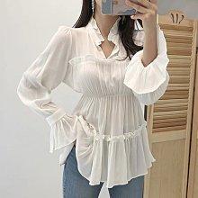 3色韓國v領荷葉邊壓褶 顯瘦喇叭袖襯衫上衣
