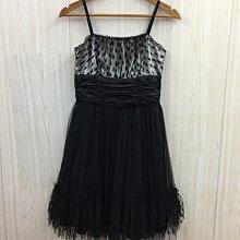 【愛莎&嵐】POUPINE 女 黑色細肩帶蓬蓬洋裝 (肩帶可調) 1090722