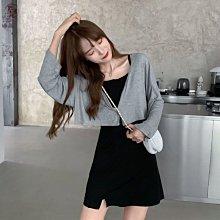 套裝女春秋季學生韓版性感吊帶連衣裙兩件套洋氣開衫外套潮