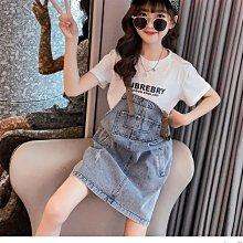 小圖藤童裝~~~中大童~~~女童背带裙套装2021夏季新款中大童T恤背带裙套裝(A2176)