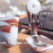 國外珠寶手工設計 噴漆銅金暈染方塊色彩烤漆貼耳夾式耳環母親節禮物  編號2