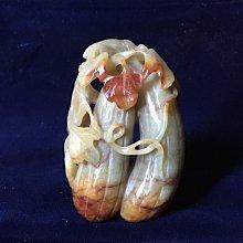 【錦福齋】明清玉雕 和田古玉俏色巧雕 福瓜 [瓜瓞綿綿 幸福如意] 福掛。玉雕/鏤雕/巧鏤雕/古玉雕件