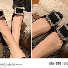 首爾美人✅RV水鑽方釦綢緞黑色婚鞋平底娃娃鞋❤