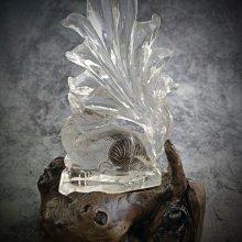 白水晶 九尾狐+樹根雕座(F16)