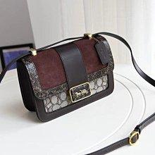 COACH C0712 新款女士Alie小方包 經典老花拼蛇紋單肩斜背包