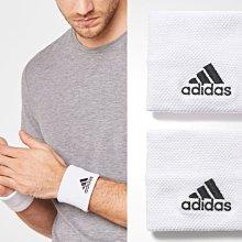 =CodE= ADIDAS TENNIS WRISTBAND 電繡運動護腕(白黑) S97837 網球 健身 籃球 男女
