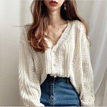 Maisobo 韓國 KOREA 秋冬精緻花邊珍珠扣鏤空針織毛衣外套 Ru-216 預購