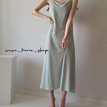 正韓:細肩線條設計款洋裝(3色)