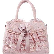 粉紅玫瑰精品屋~?復古宮廷 純手工縫製?華麗手工精緻蕾絲珍珠粉色手提包??