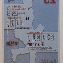 03 Fleer E-X 舊金山巨人 全壘打王 Barry Bonds 限量58張無編號版 Credentials 特卡