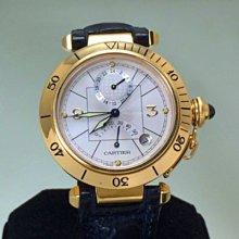 順利當舖 Cartier/卡帝亞 18K金pasha多功能新款GMT雙時區帥氣男女通用自動錶款