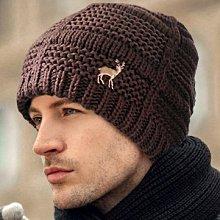 麋鹿刺繡立體方格條紋雙層圓帽 Q941-3 秋冬造型保暖 咖色款 帽子專賣店