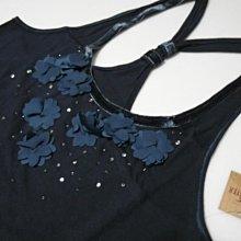 美國衝浪風Hollister 女裝River Jetties S號深藍精緻超吸睛花朵超柔軟純棉質感佳背心含運在台